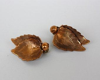 Vintage 50s Copper Earrings Double Leaf w Copper Bead Clip Backs
