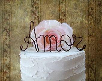 AMOR Wedding Cake Topper - Shabby Chic Wedding Cake Topper, Personalized Wedding Decoration, Wedding Cake Decoration, Rustic Wedding Decor