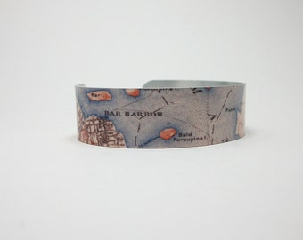 Bar Harbor Maine Map Jewelry Cuff Bracelet Unique Gift for Men or Women