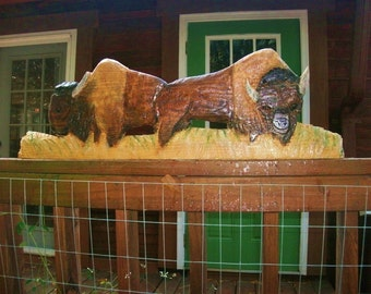 """Bison on the Prairie 36"""" chainsaw art sculpture American buffalo woodworking carving Western rustic mount or stand wildlife home decor art"""