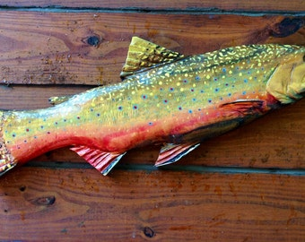 """Brook Trout 30"""" hand painted fish chainsaw carving rustic wood trophy trout mount lake lodge decor wall mount faux taxidermy art home accent"""