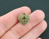 BULK 50 Cross Charms Antique Bronze Tone 2 Sided Heart Shaped - BC1141