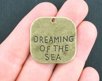 3 Large Dreaming of the Sea Charms Antique Bronze Tone - BC980