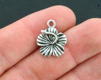 5 Flower Charms Antique Silver Tone Hibiscus - SC4001