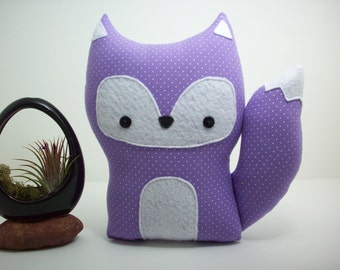 Fox pillow plush toy in purple polka dots