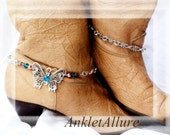 Wings of A Butterfly Boot Chains Aqua Blue Infinity Chain Silver Boot Jewelry Cowboy Boots Boot Jewelry