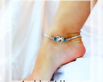 Beach Riding Horse Charm Anklet Ocean Blue Crystal Fusion Copper Silver Ankle Bracelet