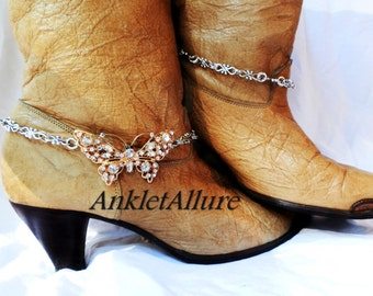 Im a Rhinestone Butterrfly Boot Chains Extremely Strong Chain Fusion Gold Silver Boot Jewelry
