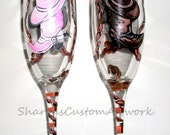 Cowboy and Cowgirl Wedding Cowboy Boot and Cowboy Hat and Cowgirl Boot and Cowgirl Hat  Hand Painted Wedding Champagne Flutes Set of 2