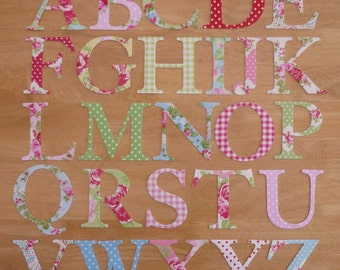 """4"""" Shabby Chic Iron on Fabric Letters - 10cm uppercase appliques - made to order, choose your letters and fabrics - ships from UK"""