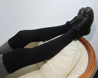 Tall Thick Black Thigh Highs Leg warmers Heavy Boot Sock Slouchy Socks A1397