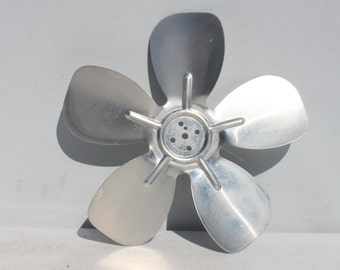 Vintage Fan Blade Metal Silver Industrial Decor