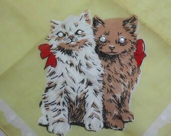 Vintage Hankie Handkerchief Kittens Cats Rhinestone Eyes Cotton Yellow Burmel
