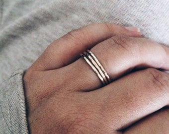 Stacking Rings - Midi Rings, Hammered or Smooth Style, 14k Gold Filled or Sterling Silver Ring, Minimalist Layering Jewelry, Gifts for Her