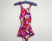 Reserved Cindy Leon-70's Speedo Bright Floral Swimsuit size 8/10