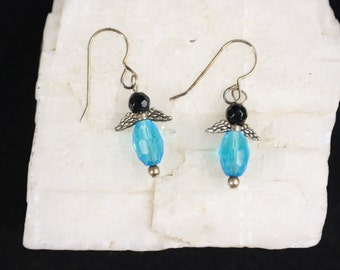 Light Blue and Black Vintage Crystal Angel Wing French Wire Sterling Silver Earrings