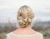 Ripple Headpiece, Bridal Veil Alternative, pearl, silver, crystal, gold, cream, modern unique contemporary vintage comb fascinator 1920s 201