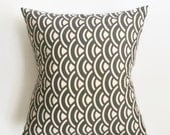 Dark Grey Scallop Pillow Cover - Dark Grey and White Pillow Cover - 18 x 18 - Coastal Chic