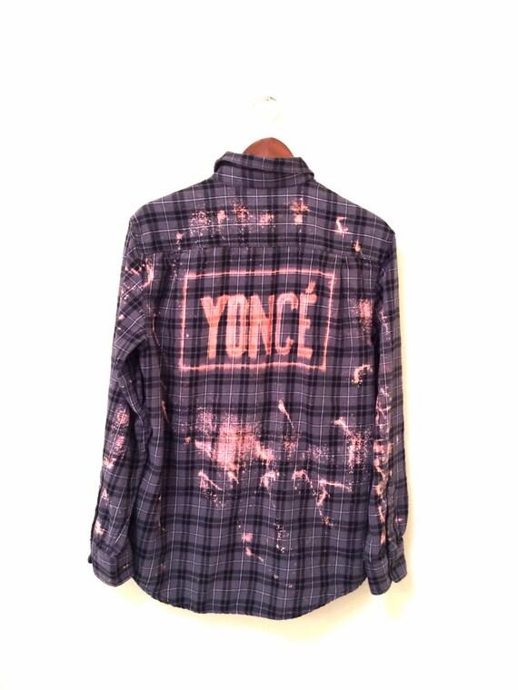 Beyonce Yonc Shirt In Grey Plaid Flannel