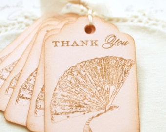 Pink Gift Tags Vintage Style Thank You with Victorian Fan Wedding Favor Tags