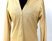 Gold Shirt Jacket Top, Womens Dress Shirt, Button Up Jacket, Vintage 1960s Clothing, Size Small