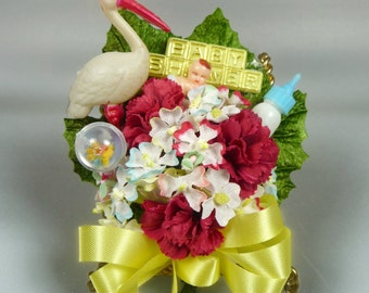 Vintage Baby Shower Corsage Stork Retro Red Yellow Blue New Mommy Keepsake