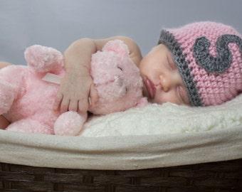 Crochet Baby Monogram Beanie Newborn to 5T Soft Pink/Heather Grey Hat MADE TO Order