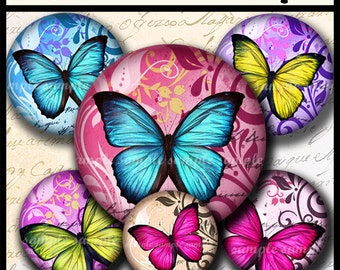INSTANT DOWNLOAD New Colorful Butterflies (678) 4x6 Digital Collage Sheet 1/2 half inch (0.5 inch size) mini bottle cap images glass tiles