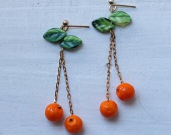 Orange Tree Earrings ... Florida Orange Grove Tangerine