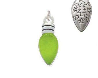 Christmas Lights, Silver Plated, Translucent Lime Green Resin Charm, Qty.1