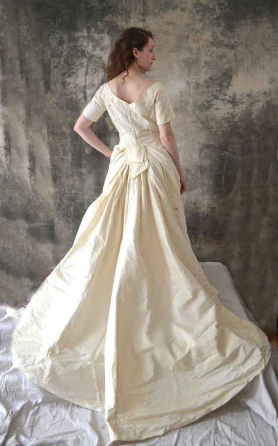 1950s Satin Wedding Gown with Train