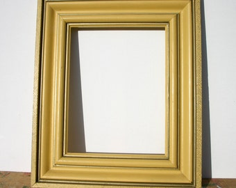 Yellow Wooden Frame with hand painted Gold decoration