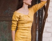 50% SALE Golden dress, mustard yellow pencil dress with sleeves, amber spring fashion, office party clothing, size S-M