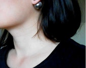 Double Sided Earrings-Fake Gauges, Double Bead Earrings,Metalic Effect, Silver, Contemporary Jewelry,