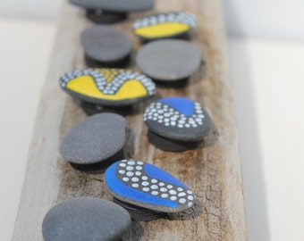 Painted Magnets Maine Beach Stone Magnets set of 10 Office, Storage and Organization, desk accessories