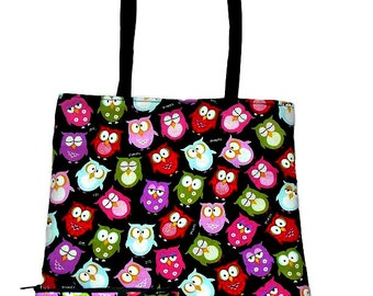 Owls Matching set Reversible tote bag and makeup bag with  coin bag