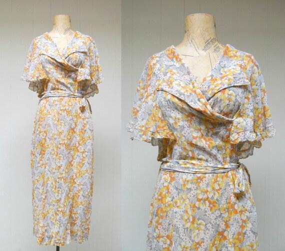 RESERVED Vintage 1930s Dress / 30s Floral Voile Tea Length Frock / Medium - Large