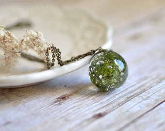 moss necklace resin jewelry- nature inspired - lichen necklace / terrarium necklace woodland necklace