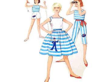 Vintage 1960s Pirate Pants Pattern Capri Nautical Sailor Bust 31 Size 12 Simplicity 3947