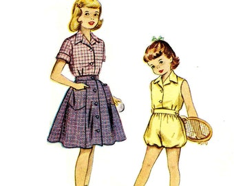 Vintage 1950s Girls Tennis Outfit Pattern Size 8  Chest 26 McCalls 9318