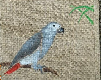 African Grey Parrot aviary bird jute bag hand painted