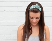 Twist Hair Scarf - Screenprinted Wire Headband - Navy on Mint - Headband