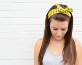 Twist Hair Scarf - Screenprinted Wire Headband - Navy on Yellow