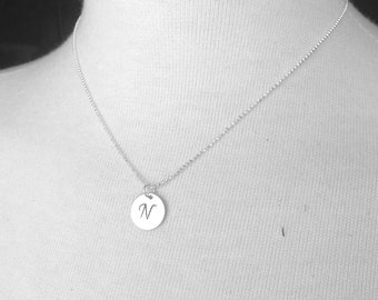 Initial Necklace, All Letters Available, N Necklace, Initial Jewelry, Charm Necklace, Sterling Silver Jewelry, Monogram, Letter N Pendant
