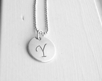 Large Initial Necklace, Letter Y Necklace, Sterling Silver Initial Necklace, Initial Jewelry, Initial Pendant, Letter Y, Charm Necklace