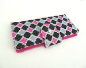 Long Women's Wallet Clutch- Pink Black and Gray Geometric