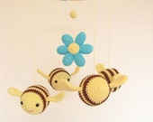Yellow Baby Mobile, Bumble Bee, Nursery Crib Mobile, Ceiling Mobile, Hanging Mobile