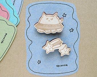 laser cut wood brooch - MewFO  #1 wooden Biscuit cat UFO