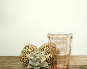 Dreamy Pink Fortune Pattern Depression Glass, Anchor Hocking Juice Glass, 1937-38