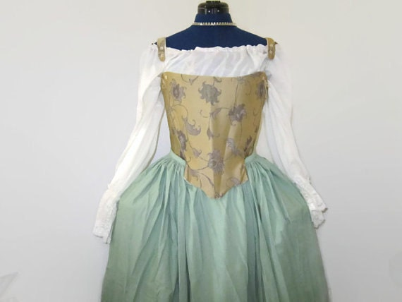 Corset  - Gold base jacquard 18th century corset Rococo Stays / and Pocket hoops/ pannier. Marie Antoinette dress.